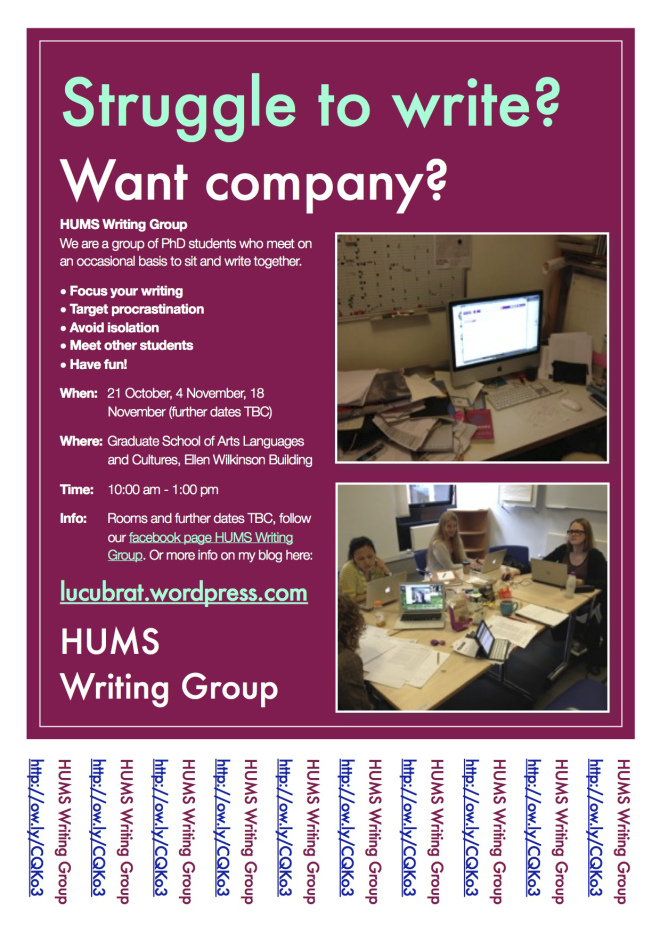 HUMS Writing Group Poster