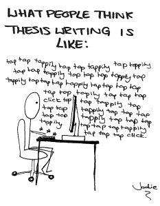 Image by Jodie Martin at http://jazzlinguist.blogspot.co.uk/2012/09/thesis-writing-doodles.html