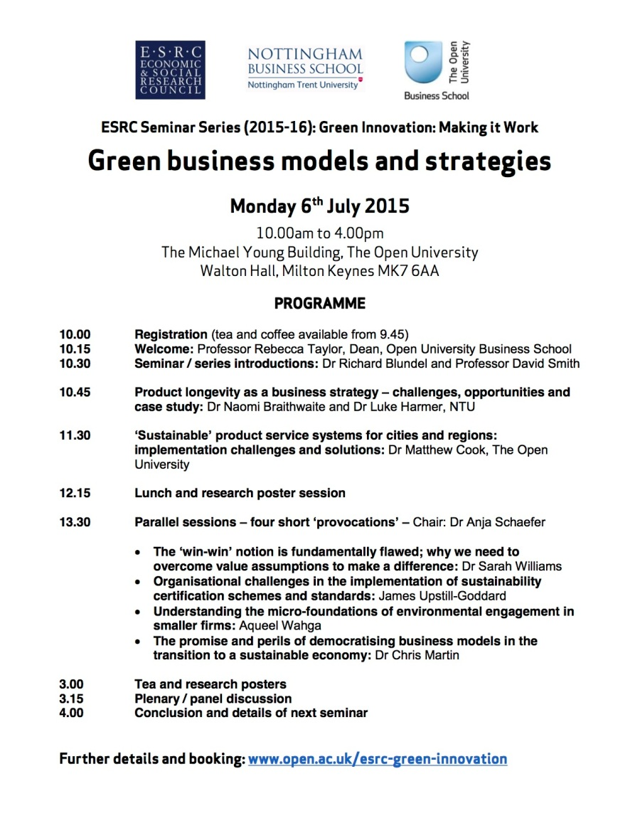 ESRC Green Innovation - 2nd seminar 6th July 2015 - PROGRAMME (2)